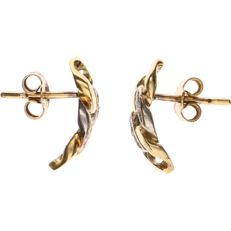 18 kt bicolour-gold curb-link earrings, each set with four brilliant-cut diamonds of approx. 0.005 ct each - length: 14.9 mm