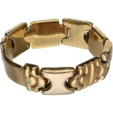 14 kt – Bi-colour, yellow/white gold, tooled, flexible ring – Ring size: 19.25 mm