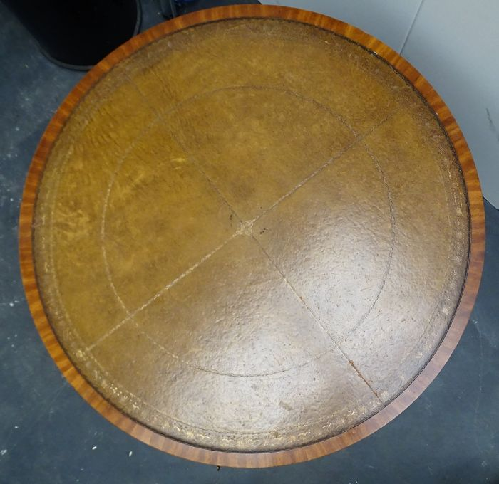 Large Round Wooden Coffee Table With Four Drawers, Mid