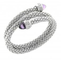"Chimento - ""Stretch"" silver, double stretch bracelet with amethyst - wrist size 18 cm"