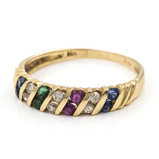 Yellow gold 18 kt - Cocktail ring - Brilliant cut diamonds 0.20 ct - Emeralds, Sapphires, Rubies 0.40 ct in total - Cocktail ring size 12 (SP)