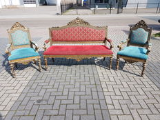 3-piece Italian salon furniture of gilded paste on wood: 1 sofa and 2 armchairs - 2nd half of the 19th century