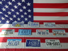 Nice set of 10 American license plates - LC7897 - 635M46 - JIS156 - 481748A - 8307VH - 7NFB876 - CER1171 - 647XST - 642061A - CVW5883