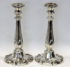 A pair of early Victorian filled silver Candlesticks - Thomas Bradbury & Son - Sheffield - 1843
