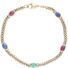 14 kt yellow-gold curb-link bracelet, set with two cabochon-cut sapphires, two cabochon-cut rubies and a cabochon-cut emerald - length: 19.3 cm