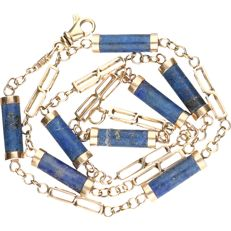 14 kt - yellow gold necklace set with lapis lazuli - length: 43.5 cm