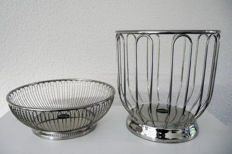 Alessi - stainless steel bread basket/dish and a citrus basket