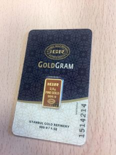 Brand new 2.5 grams gold bar from the LBMA refinery IGR (Istanbul Gold Refinery)