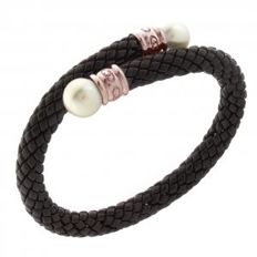 "Chimento - ""Stretch"" bracelet, black ceramic with pearl - wrist size 18–20 cm"