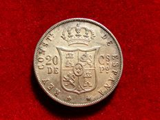 Spain - Alfonso XII, 20 cents of peso, struck for its circulation in the Philipine Islands in 1885