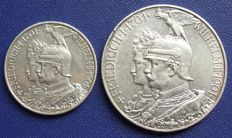 German Empire, Prussia - 2 and 5 Mark 1901 for the 200 year anniversary of the kingdom - silver