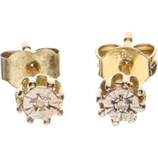 14 kt Yellow gold earrings, each set with 1 brilliant cut diamond of 0.005 ct per piece - Diameter of stud: 4.1 mm.