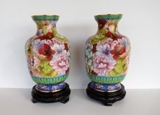 "Two Chinese multicolored ""mille fleur""  cloisonne vases on wooden bases - China - second half 20th century"