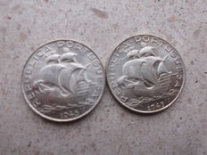Portugal, Republic -- 2$50 Escudos 1945 and 1946 (2 coins) -- silver Ag 650 -- FDC