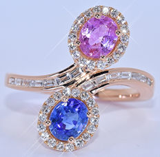 2.60 Ct Blue and Pink Sapphires, ring - NO reserve price!