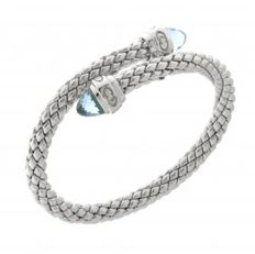 "Chimento - ""Stretch"" zilveren stretch armband met Topaas - polsmaat 18cm"
