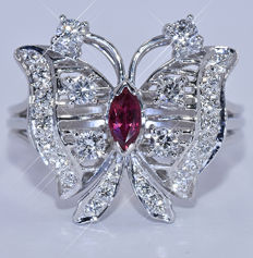 Diamond Butterfly ring - NO reserve price!