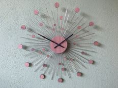 Karlsson - modern wall clock, chrome-plated steel in combination with wooden discs (50 cm)