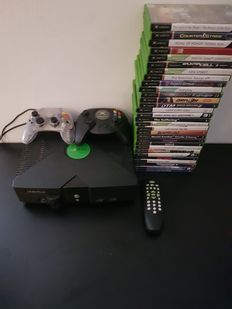 Xbox classic with 30 games 2 controllers and dvd remote
