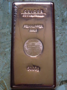 Geiger 5 kg copper bar - Güldengossa castle - 999.9 copper - 5000 g - Germany