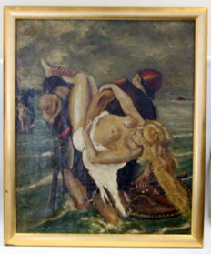 Original work; Unknown artist - Viking Kidnapping Scene - Early 20th Century