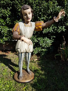 Wooden sculpture representing a musician pageboy - Venice area - early 18th century