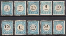 Netherlands 1881/1887 - postage due mark and value in black - NVPH P3/P12, with inspection certificate