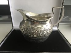 Ornate Victorian solid silver Embossed Decorated cream jug - E Jacobson & Son - Birmingham - 1889
