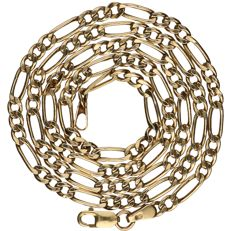 14 kt - Yellow gold Figaro link necklace - Length: 43 cm
