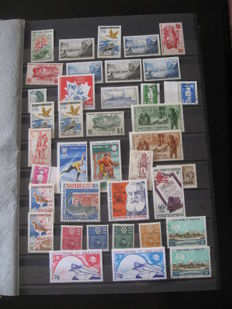 Former French colonies - Stamp collection including St. Pierre and Miquelon, Polynesia, and new Hebrides
