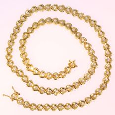 Yellow gold heart link brilliant cut diamond necklace