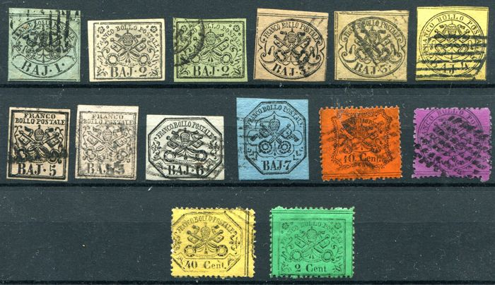 Papal States, 1852 -- Selection of 14 values and 4 fragments