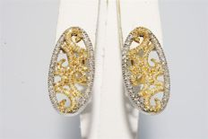 """1.30 ct Gold earrings with diamonds, """"no reserve"""""""