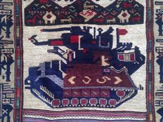 Semi Antique Afghan Pictorial Hand Knotted Balouch Herati Area Rug 185 cm x 117 cm