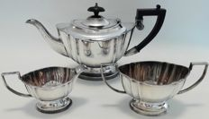 Three pieced silver plated tea set, Chippendale, EPNS
