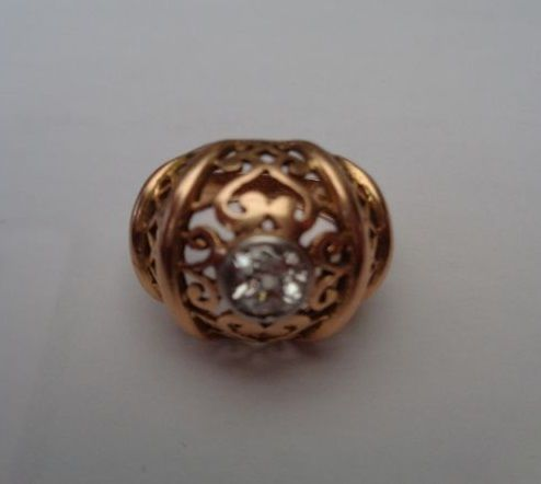 Art Deco, red gold ring with 0.5 ct diamond, 1940s
