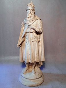 Hugh Capet (c. 941-996), King of the Franks - sculpture of cast chalkware - 2nd half 19th century