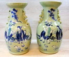Couple of Chinese porcelain celadon vases with figures and floral decorations - China - 2nd half 20th century