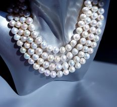 Cultured Pearl Necklace - Pearl Size:9-10 mm - 160 cm
