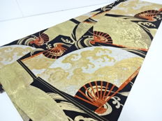 Fukuro obi, with classic design of fans and waves - Japan - late 20th century
