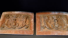 Lot of 2 carved wooden panels - Belgium - 18th century