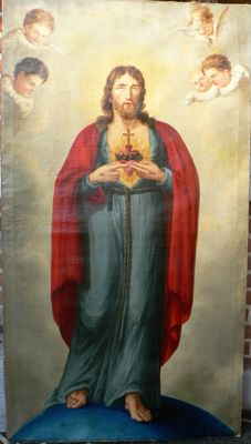 Very large painting (173 cm high), Christ with Sacred Heart, oil on canvas - Flanders (Belgium), 18th , 19th century