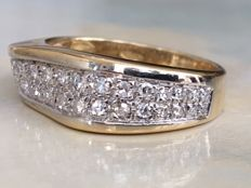 18 kt Yellow gold pavé ring with diamonds - approx. 0.40 ct Wesselton/VS - ring size: 16.75 mm