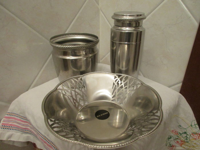 Alessi bread rack, ice bucket and shaker
