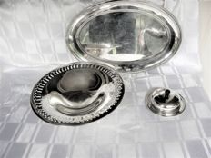 Three items silver plated serving ware, including meat/salad dish and butter dish