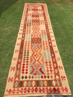 13.0 Feet LONG VEGETABLE DYED Hand Made Chobi Kilim Runner Rug Double Face Design 394 x 100 cm - 13.0 x 3.3 Feet