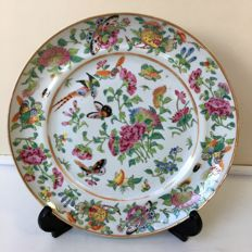 Antique Export Porcelain Gilt Famille Rose gilt Plate with bird, butterfly and  fruits - China - 19th century