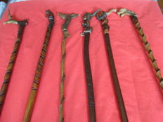 Collection of six antique canes