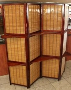 Four-piece folding screen with braided panels