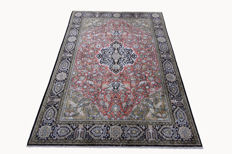 Qom silk carpet, Persian carpet, real, animals, medallion pattern 2.05 x 1.38 real silk approx. 1,000,000 knots